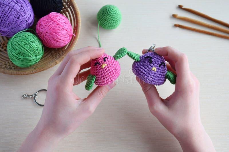 Het maken gekleurd vogel haken Stuk speelgoed voor babys of trinket Voor de lijstdraden, naalden, haak, katoenen garen Met de han stock afbeelding