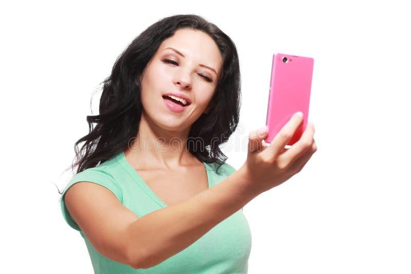 Het maken selfie stock foto
