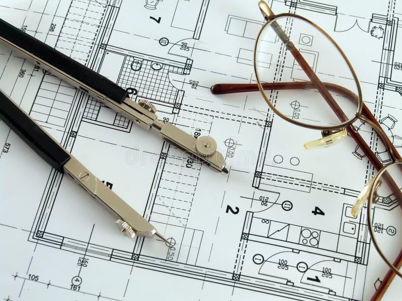 Het maken van architecturaal plan royalty-vrije stock afbeeldingen