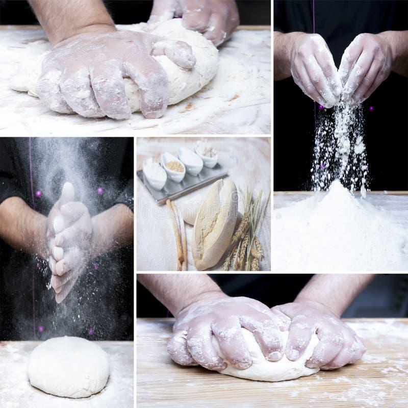 Het maken van broodcollage stock foto's
