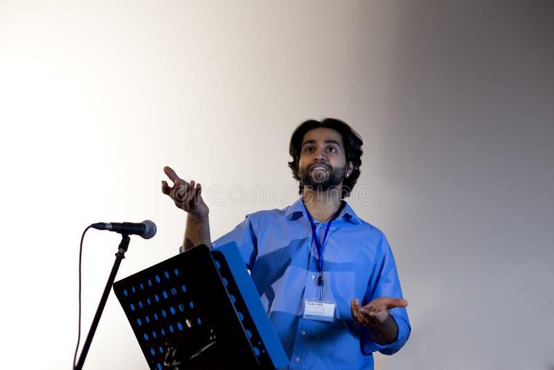 Het maken van een toespraak stock fotografie