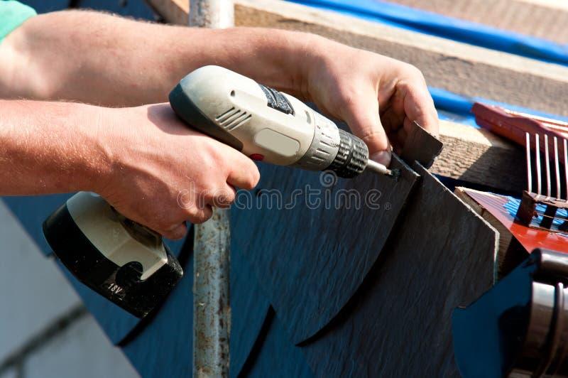 Het maken van het dak stock foto's