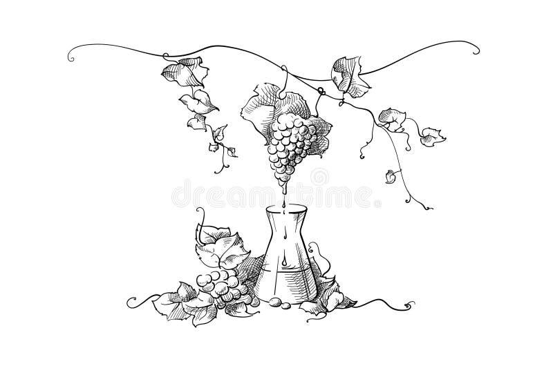 Het maken van het druivesap royalty-vrije illustratie