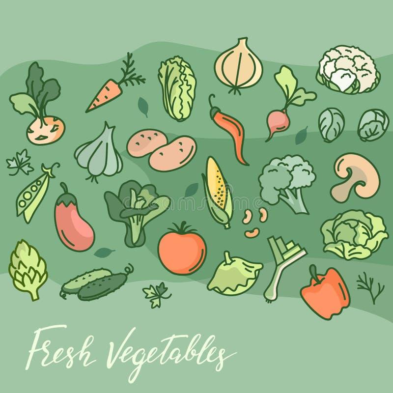 Het maken van Vegetarische voedsel, koffie, druk en meer Veganiststijl Veganistmalplaatje stock illustratie