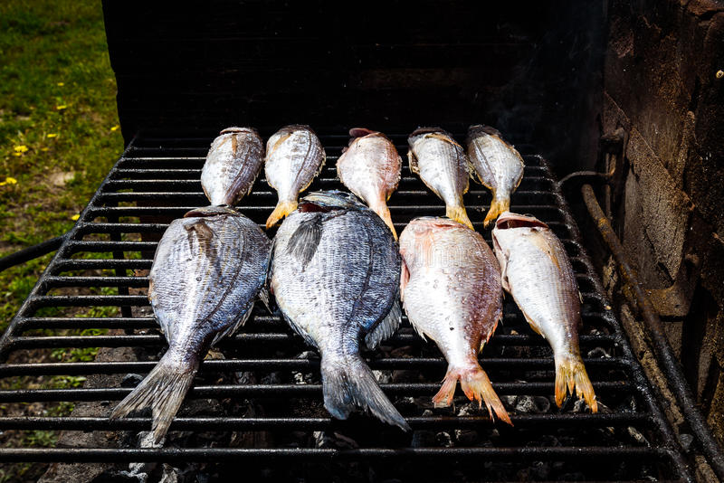 Het maken van vissen op een bbq barbecuegrill over hete steenkool stock afbeeldingen