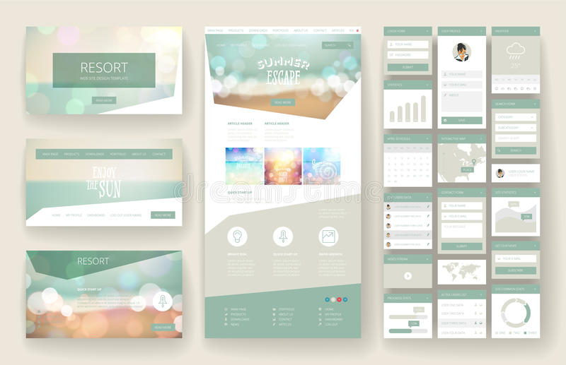 Het malplaatje en de interfaceelementen van het websiteontwerp stock illustratie