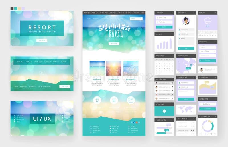 Het malplaatje en de interfaceelementen van het websiteontwerp vector illustratie