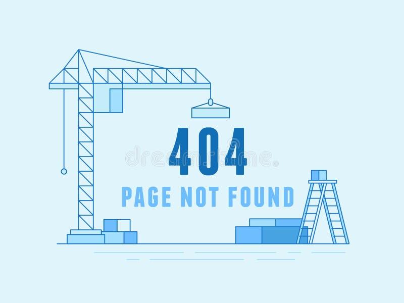 het malplaatje en de website van het 404 paginaontwerp in aanbouw stock illustratie