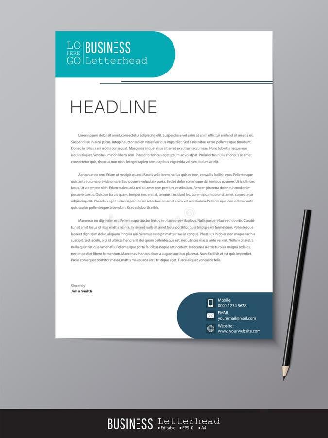 Het malplaatje en het model minimalistische stijlvector van het briefhoofdontwerp D stock illustratie
