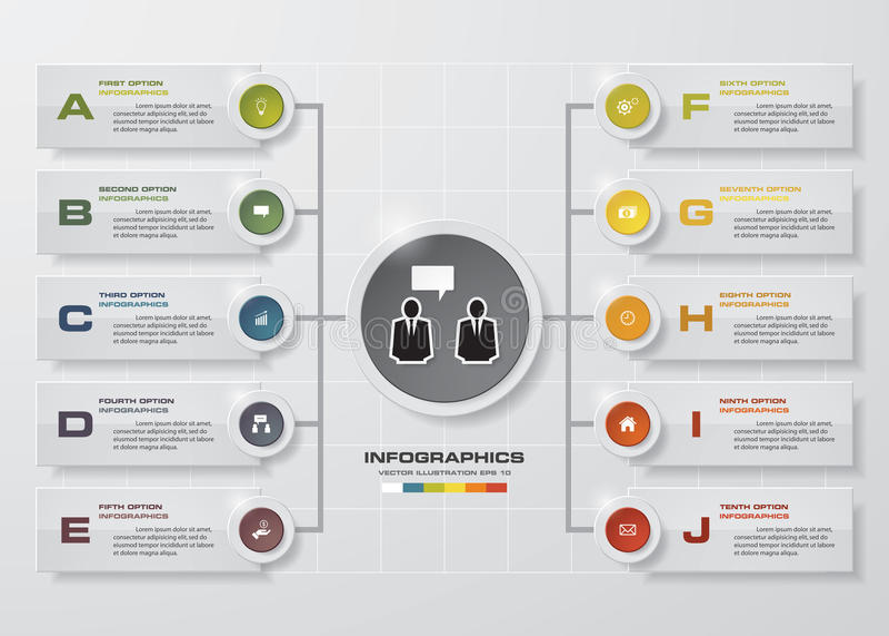 Het malplaatje en van het Bedrijfs infographicontwerp concept met 10 opties, delen, stappen of processen stock illustratie