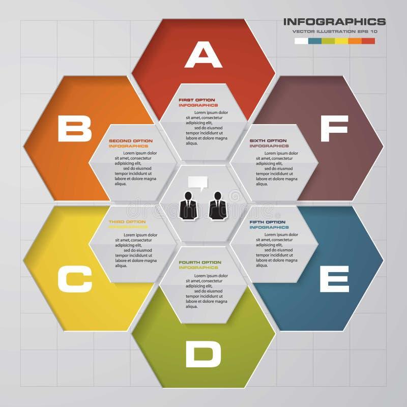 Het malplaatje en van het Bedrijfs infographicontwerp concept met 6 opties, delen, stappen of processen royalty-vrije illustratie