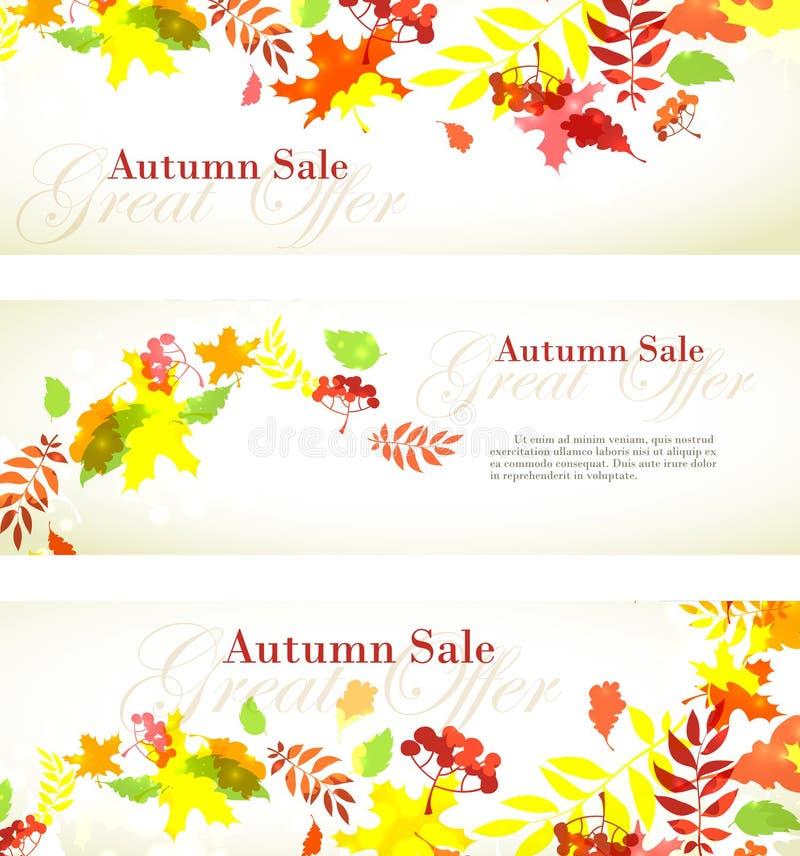 Het malplaatje horizontale banner van de de herfstverkoop met dalings heldere bladeren: royalty-vrije illustratie