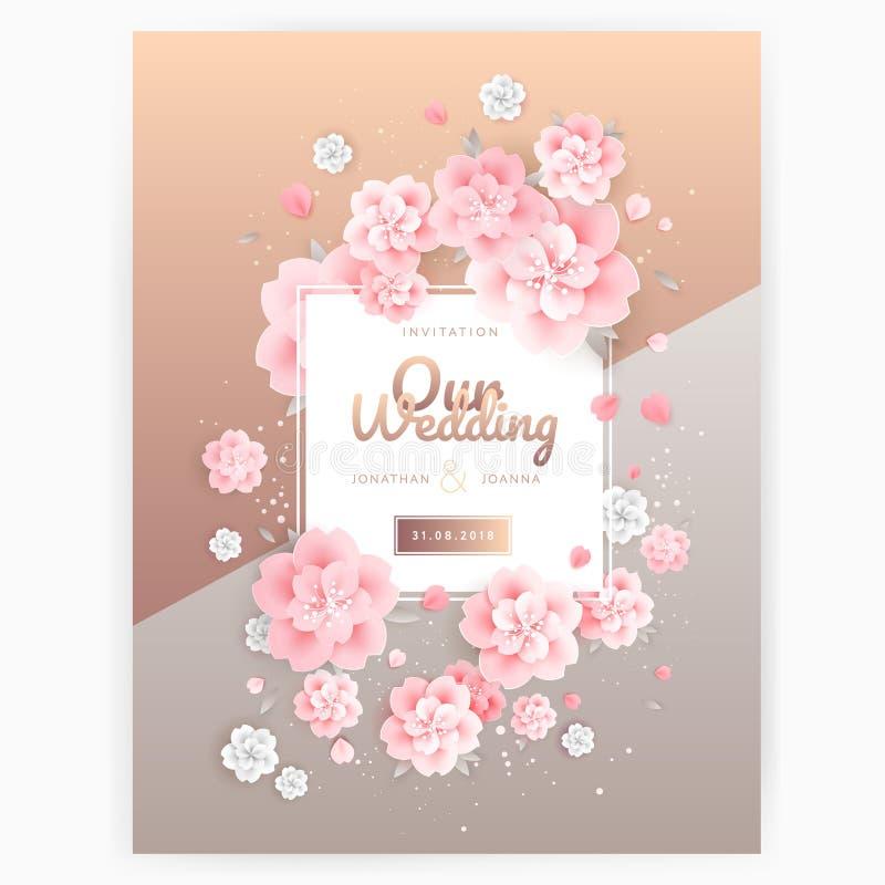 Het malplaatje huwelijks van de achtergronduitnodigingskaart Roze rozen op goud stock illustratie