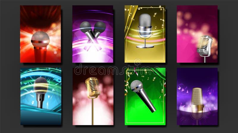 Het Malplaatje Lege Vastgestelde Vector van de karaokeaffiche Muzieknacht Zing lied Dansgebeurtenis Uitstekende studio Muzikaal v vector illustratie
