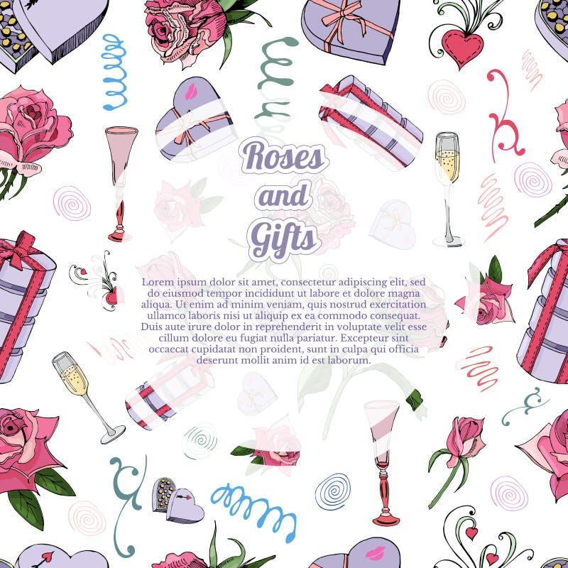 Het malplaatje met naadloos patroon van nam flowes en bladeren, suikergoed, andere verschillende giften en cirkel toe stock illustratie