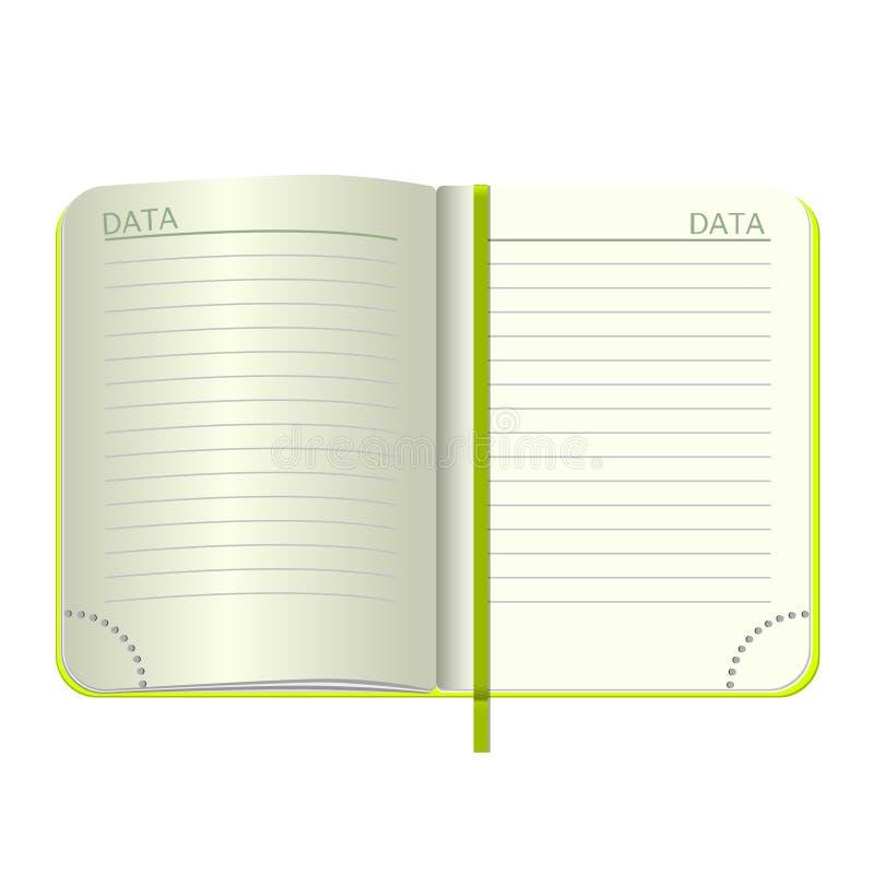Het malplaatje opent een lege blocnote Vector persoonlijk notitieboekje met een groene dekking en een referentie Op witte achterg vector illustratie