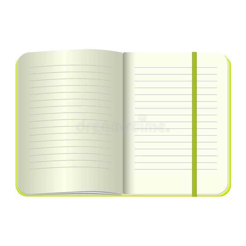 Het malplaatje opent een lege blocnote Vector persoonlijk notitieboekje met een groene dekking en een referentie Op witte achterg royalty-vrije illustratie