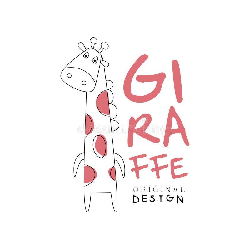 Het malplaatje origineel ontwerp van het girafembleem, gestileerde grappige dierlijke etiket gemakkelijke editable voor Uw ontwer vector illustratie