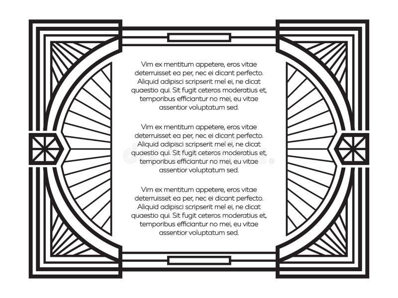 Het malplaatje van het art decokader op witte achtergrond wordt geïsoleerd die stock illustratie