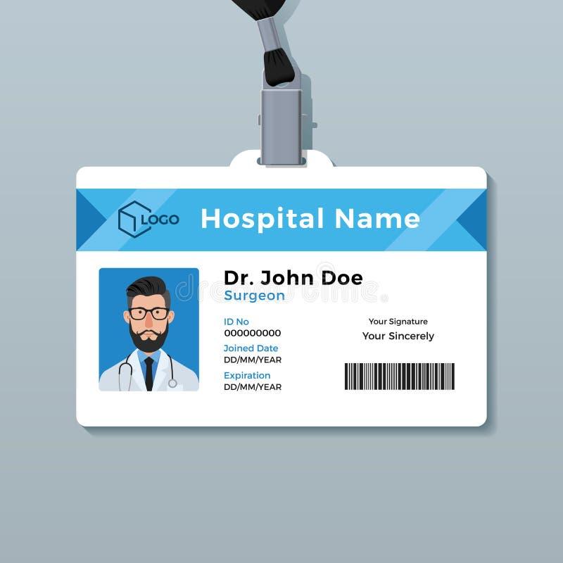 Het malplaatje van het artsenidentiteitskaart Medisch identiteitskenteken vector illustratie