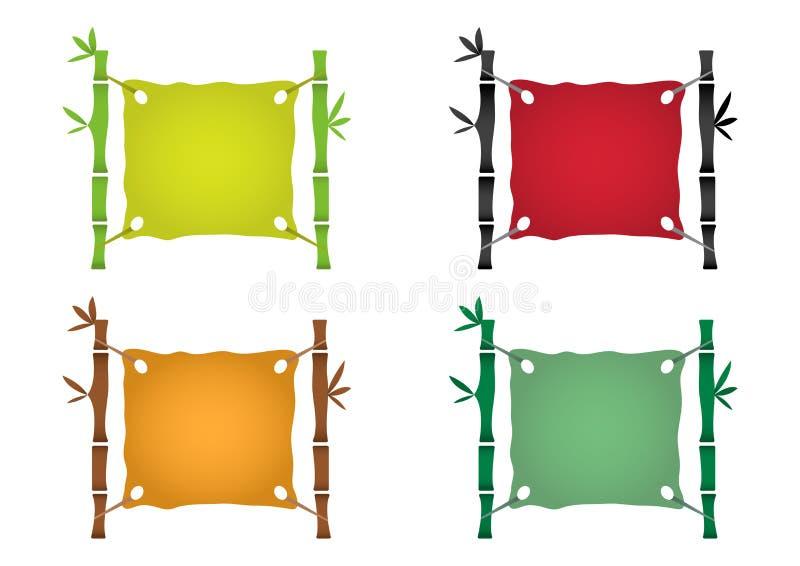 Het malplaatje van het bamboekader voor tropisch uithangbord, kleurrijke vastgestelde achtergrond Vector vector illustratie