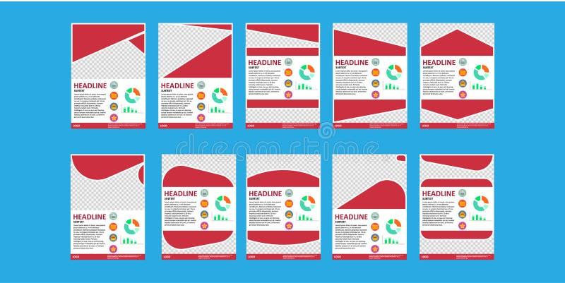 Het malplaatje van het bedrijfsbrochureontwerp Vlieger op wit, teken wordt geïsoleerd dat vector illustratie