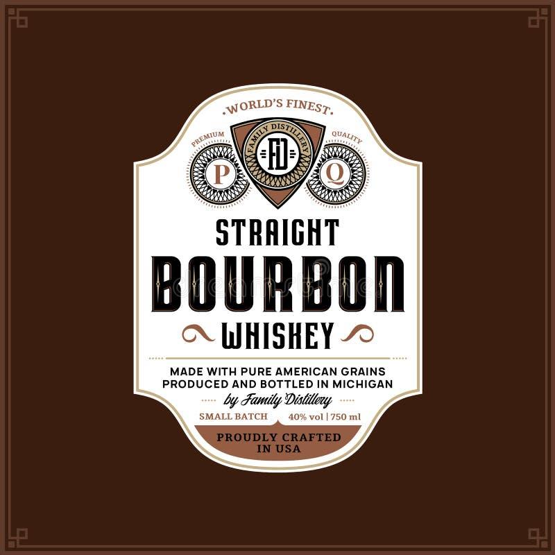 Het malplaatje van het bourbonetiket stock illustratie