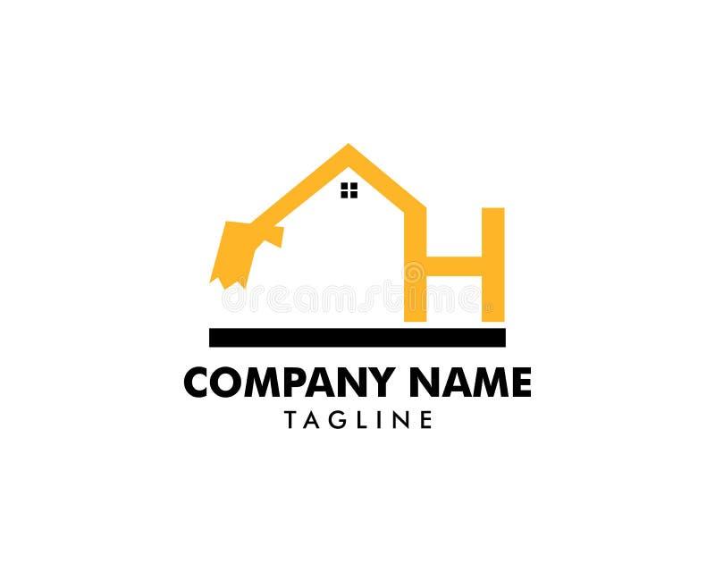 Het malplaatje van het bouwembleem, Huis en Real Estate-pictogram, het malplaatje van het Brievenh embleem met Woningbouw, Aanvan stock illustratie