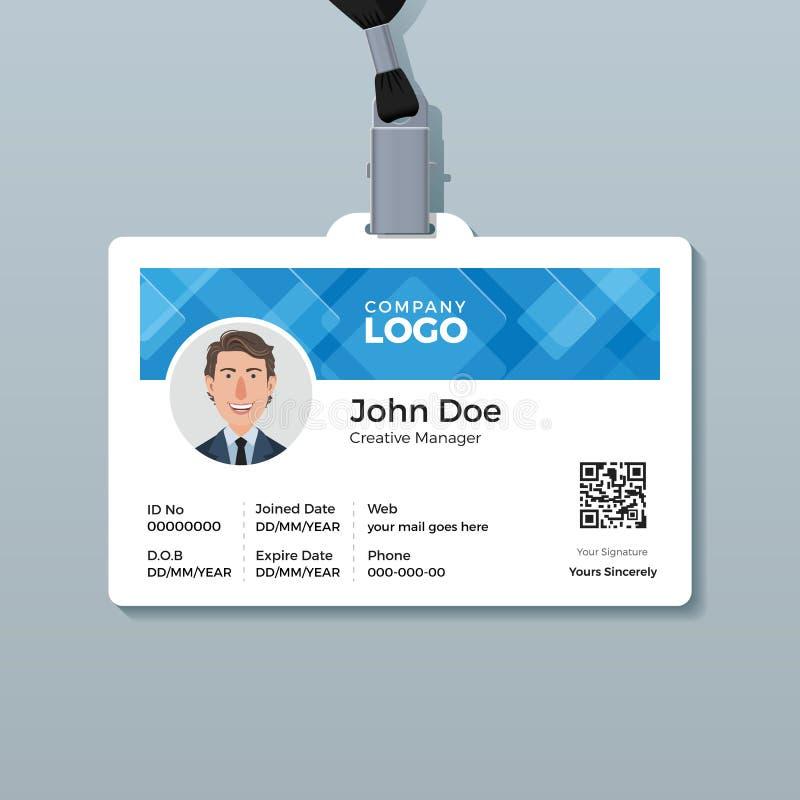 Het Malplaatje van het bureauidentiteitskaart met Abstracte Blauwe Achtergrond vector illustratie