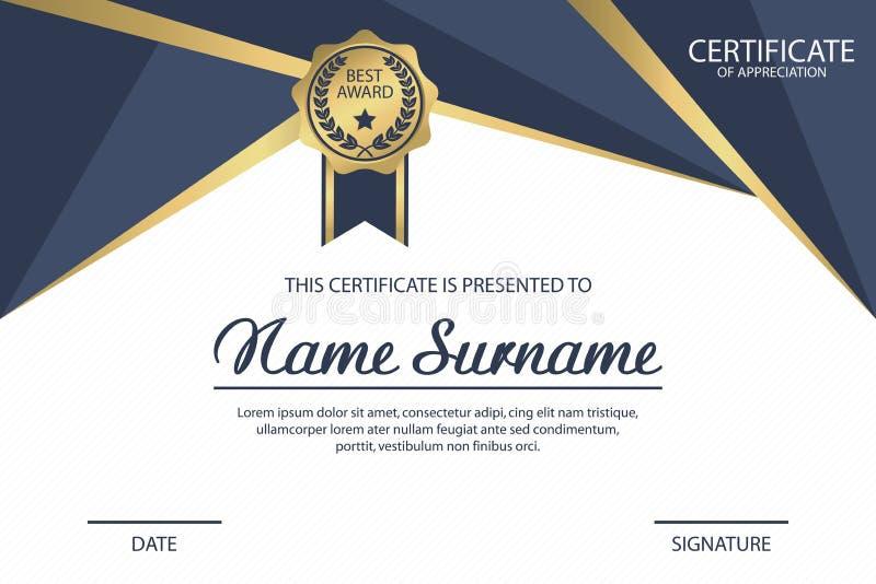 Het malplaatje van het certificaat De toekenning van het appreciatiediploma met medaille Vector stock afbeeldingen