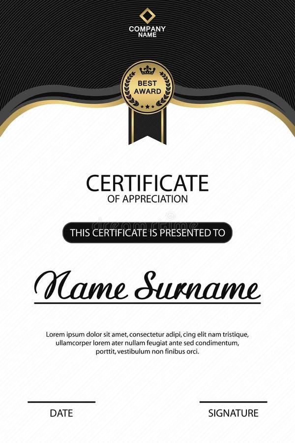 Het malplaatje van het certificaat Elegant ontwerp voor de toekenning van het appreciatiediploma met medaille Vector vector illustratie