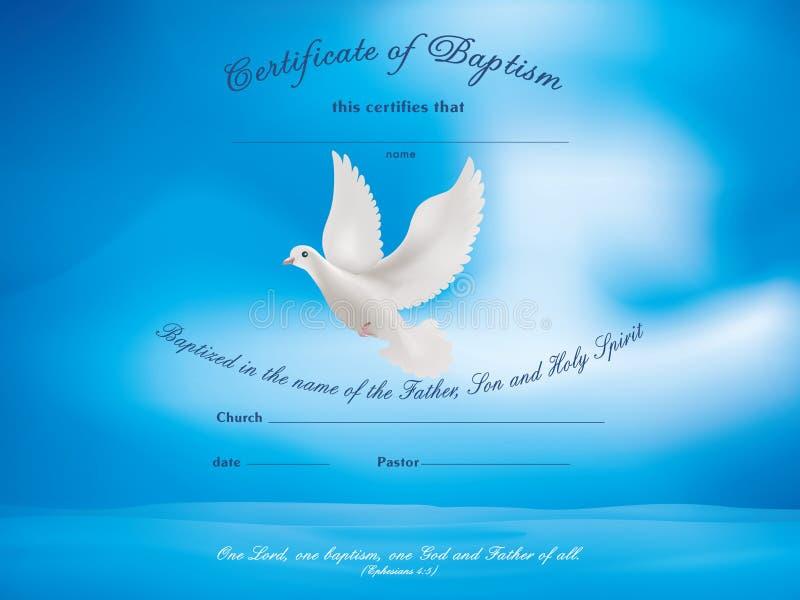 Het malplaatje van het certificaatdoopsel met duif stock illustratie