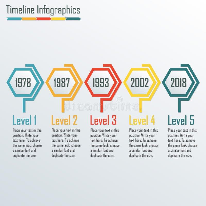Het malplaatje van chronologieinfographics Horizontale ontwerpelementen Kleurrijke vectorillustratie stock illustratie
