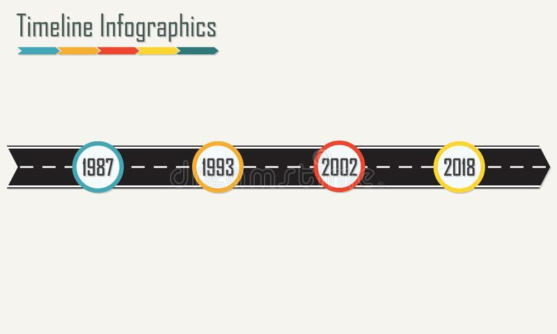 Het malplaatje van chronologieinfographics met pijl van asfaltweg Horizontale ontwerpelementen Kleurrijke vectorillustratie royalty-vrije illustratie