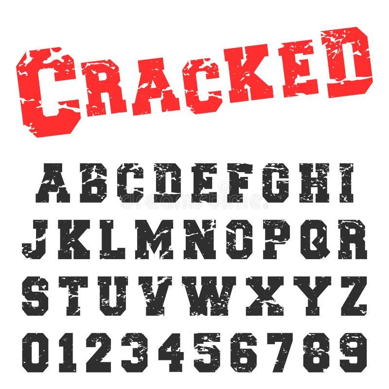 Het malplaatje van de alfabetdoopvont Uitstekende brieven en aantallen gebarsten zegelontwerp stock illustratie