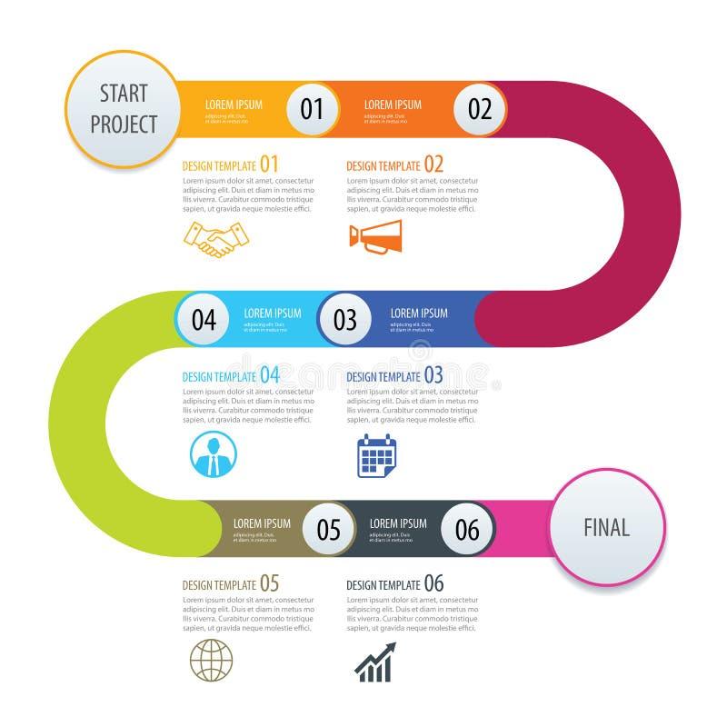 Het malplaatje van de Bedrijfs infographicchronologie conceptenpijlen De vector kan stock illustratie