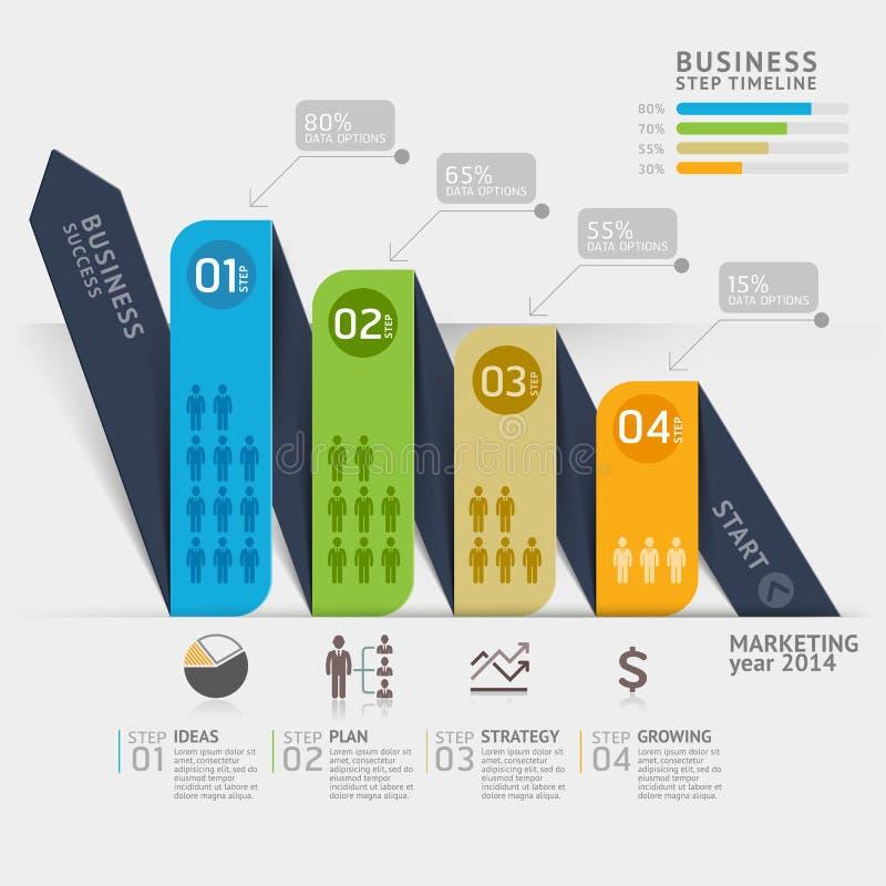 Het malplaatje van de bedrijfs marketing pijlchronologie royalty-vrije illustratie