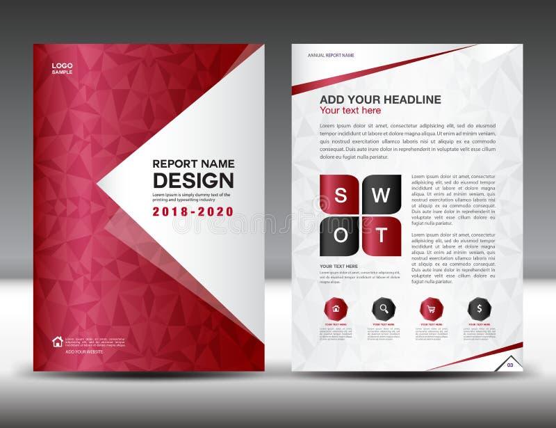 Het malplaatje van de bedrijfsbrochurevlieger in A4 grootte, Rood Dekkingsontwerp royalty-vrije illustratie