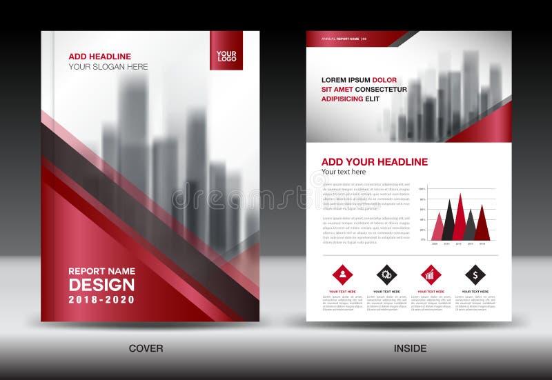 Het malplaatje van de bedrijfsbrochurevlieger, Rood dekkingsontwerp royalty-vrije illustratie