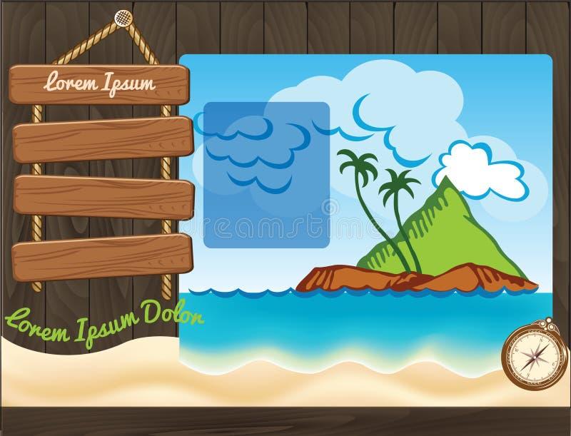 Het malplaatje van de beeldverhaalreis met palmen stock illustratie