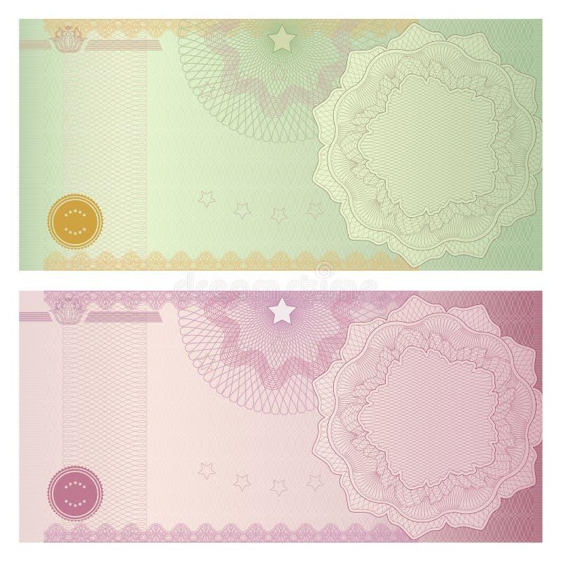 Het malplaatje van de bon/van de coupon met guilloche patroon vector illustratie