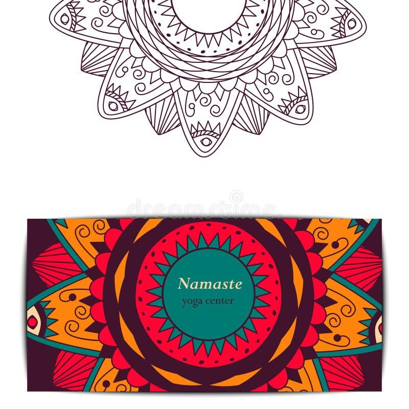 Het malplaatje van de de giftkaart van de yogastudio stock afbeelding