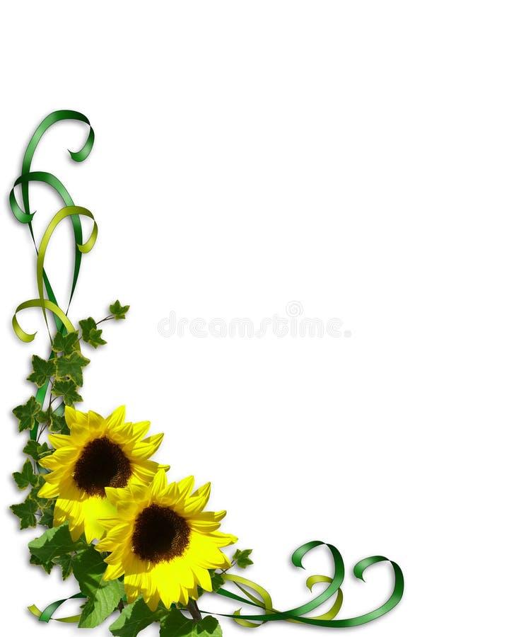 Het malplaatje van de de hoekUitnodiging van zonnebloemen stock illustratie