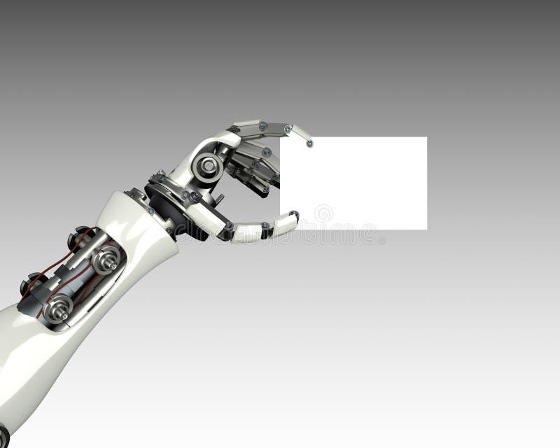 Het malplaatje van de de holdingskaart van het robotwapen met het knippen van masker royalty-vrije illustratie