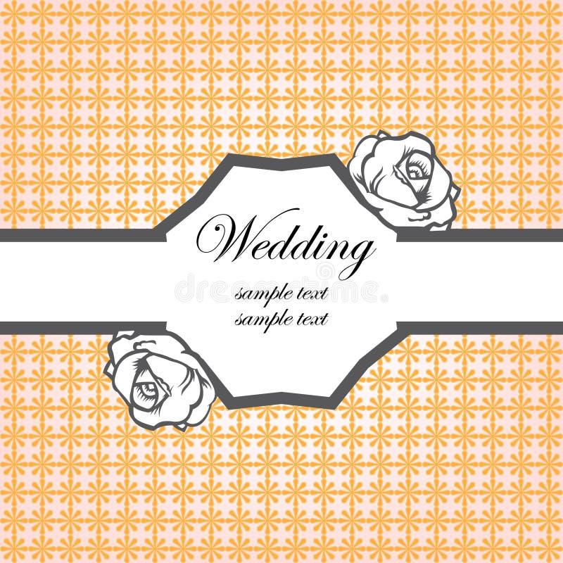Het malplaatje van de de kaartuitnodiging van het huwelijk stock illustratie