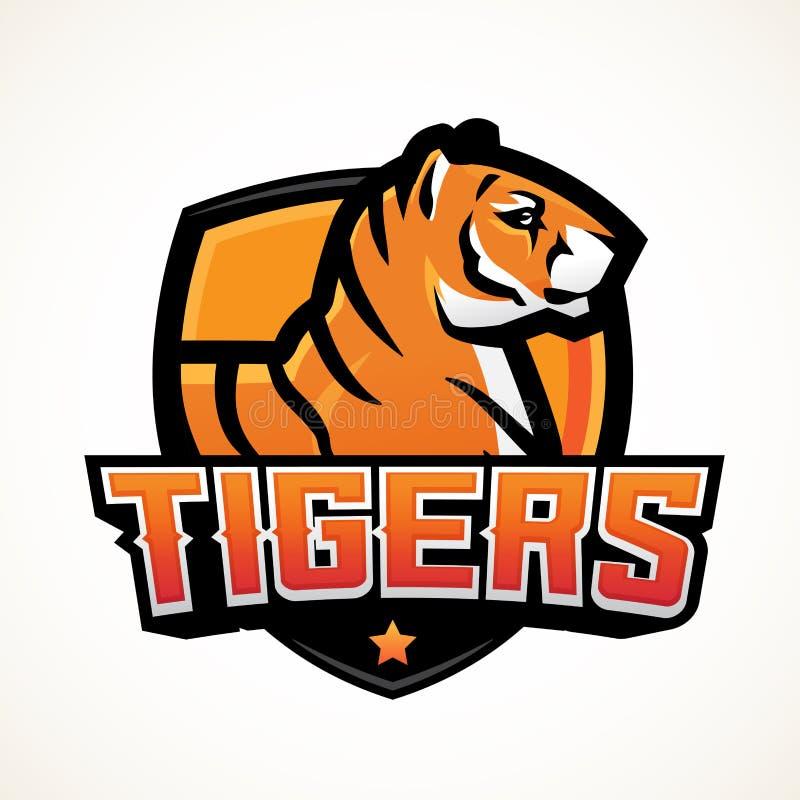 Het malplaatje van de de sportmascotte van het tijgerschild Van het Premadevoetbal of basketbal flardontwerp De insignes van de u royalty-vrije illustratie