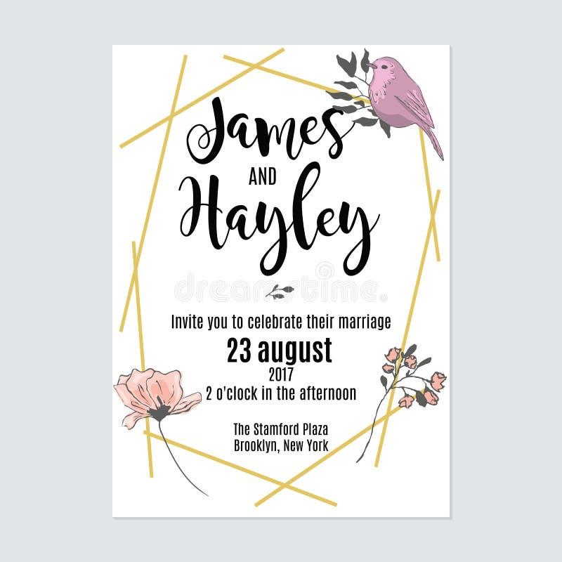 Het malplaatje van de de uitnodigingskaart van het bloemhuwelijk stock illustratie