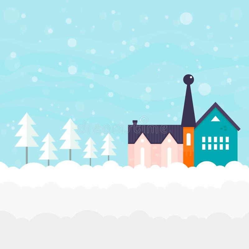 Het Malplaatje van de de winterkaart vector illustratie