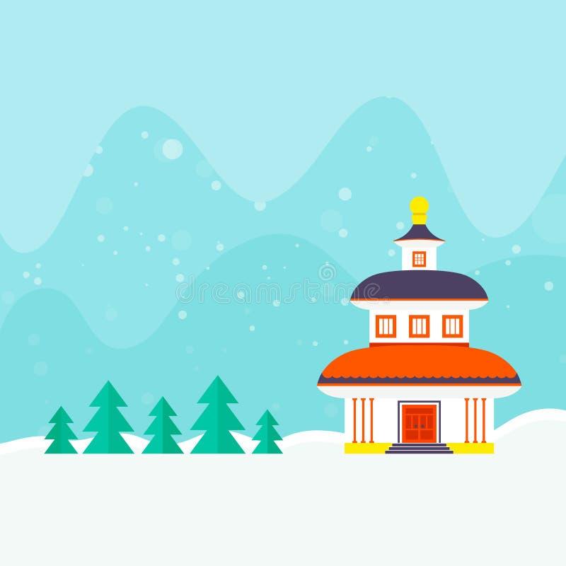 Het Malplaatje van de de winterkaart stock illustratie