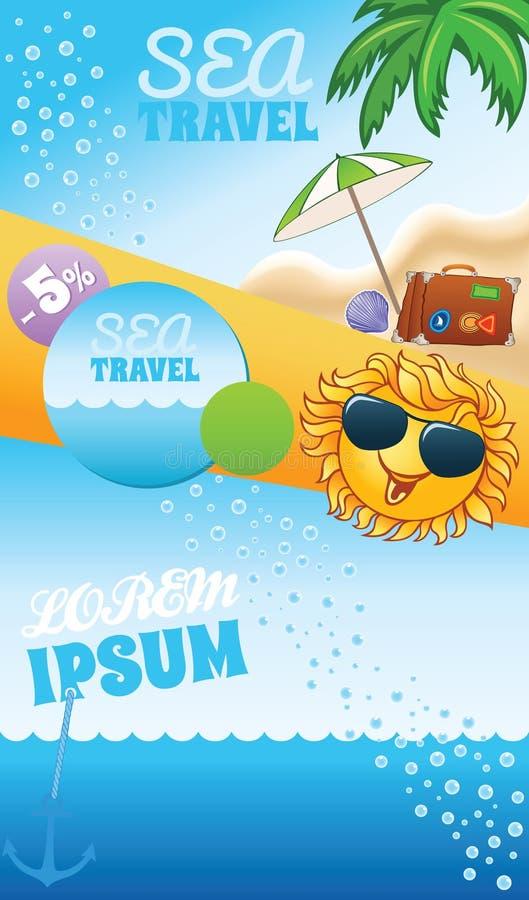 Het malplaatje van de de zomerreis met zon vector illustratie